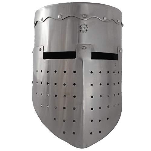 Hind Handicrafts Casco Medieval Knight Templar Armour Adulto – Crusader Warrior Accessories – Forro de cuero ajustado – LARP, Halloween & Role Play – Plata
