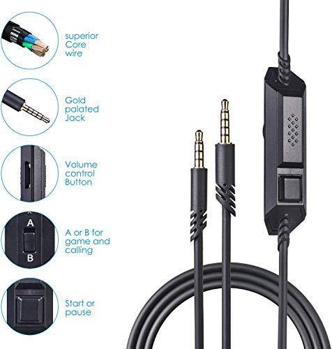 A10 A40 Ersatzkabel, Astro A40TR Inline Mute & Lautstärkeregler Kabel Kabel für Astro A10/A40 Gaming Headsets Xbox One PS4 Controller Kopfhörer Audio Verlängerungskabel 2.0M schwarz
