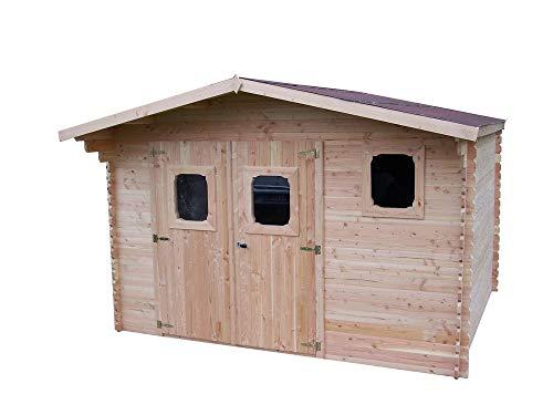 Abri DOMMAR Douglas madriers 28 mm - 14,07 m² - sans Plancher - Toit Double Pente
