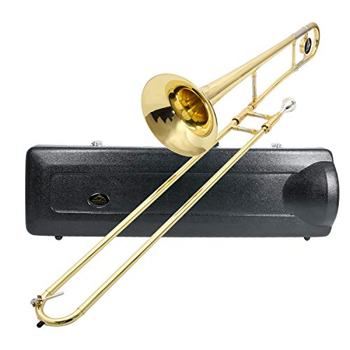 "Eastrock Bb TENOR Slide Trombone Brass Instrument for Student Beginner Professional with ABS Case & Mouthpiece and Care Kit,9.252"" Bell(230mm)"
