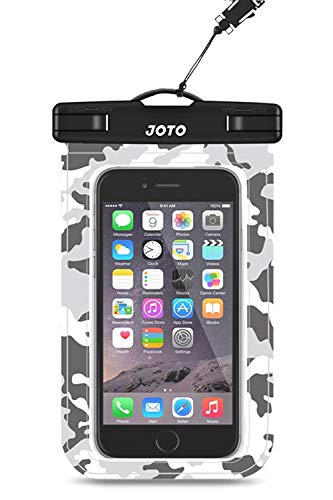JOTO Bolsa Estanca Móvil Universal, Funda Impermeable para iPhone 12 Mini/Pro/Pro MAX/11/XS/XR/8 Plus/7 Plus, Galaxy Note10+/S20 Ultra/S20+/S10e, Huawei hasta 6,9' Diagonal -Camu-Gris