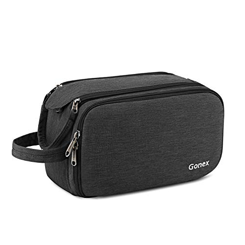 Gonex Travel Toiletry Bag with Dual-Way Zippers Dopp Kit for Men Women Toiletries Makeup Bag Cosmetic Organizer Shaving Bag for Business Trip (Dark Grey)