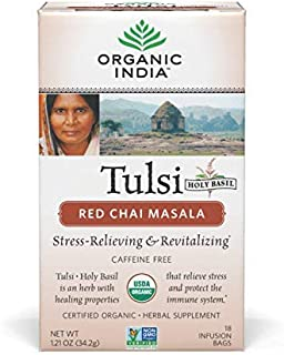 Organic India Tulsi Red Chai Caffeine Free Tea, Masala, 18 Count (Pack of 1)
