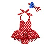 4th of July Newborn Baby Girl Outfit Strap Halter Romper American Flag Star Striped Ruffled Bodysuit Jumpsuit Independence Day Summer Clothes (4th of July Outfit A, 6-12 Months)