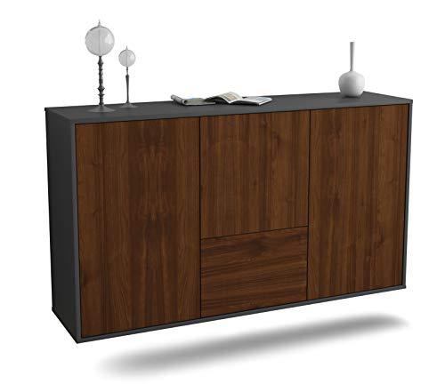 Dekati Sideboard Vancouver hängend (136x77x35cm) Korpus anthrazit matt | Front Holz-Design Walnuss | Push-to-Open