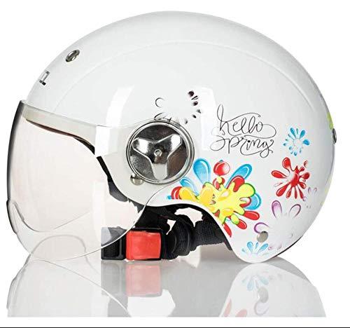 MAMAO Helmet Moto Scooter Jet Casco,DOT Omologato Vintage Vespa Motorino Casco Moto Harley Adulto Retro con Occhiali Chopper Outdoor Aperto Faccia Moto Caps Hat per Motocross Racing