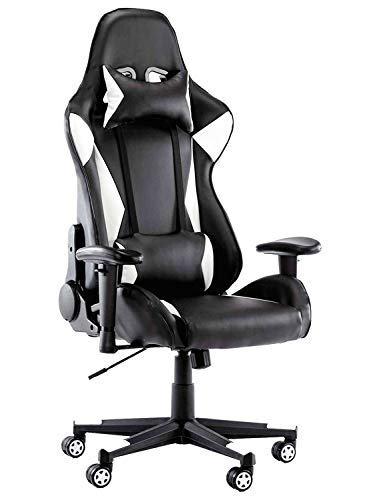 High-Back Swivel Gaming Chair PU Leather Racing Chair, Recliner Home Office Desk Chair with Headrest Lumbar Pillow Ergonomic Backrest Task Chair Executive Seat for Gaming, Working (White)