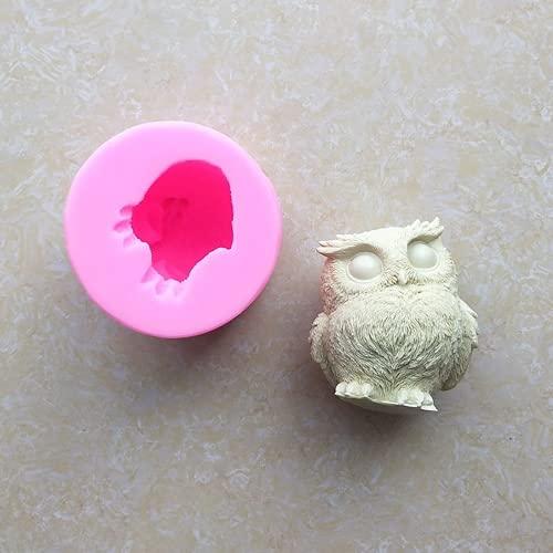 WYGOAKG 6,2 x 6,7 cm 3D forma de búho de silicona para decoración de tartas, moldes de jabón hechos a mano, para hacer manualidades de resina
