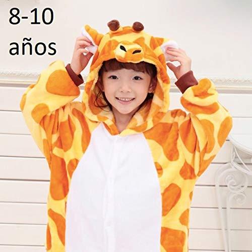 KRAZY TOYS Pijama Animal Entero Unisex para Niños como Ropa de Dormir-Traje de Disfraz para Festival de Carnaval (Girafa, 8-10)