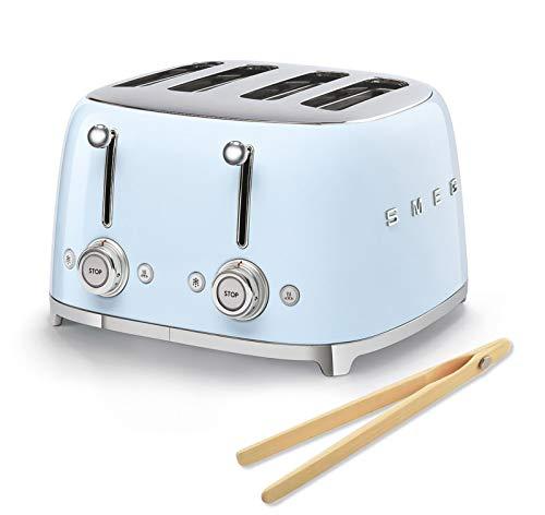Smeg 50s Retro 4-Slot Toaster TSF03PBUS Bundle with Norpro Bamboo Tongs - Pastel Blue