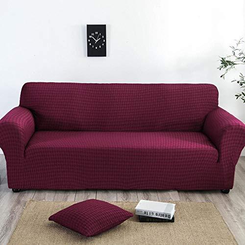 Forro de Sofá Doméstico,Funda de sofá elástica, funda de sofá antideslizante de jacquard de punto con todo incluido, funda a prueba de polvo para muebles de sofá para todas las estaciones-Wine red_14