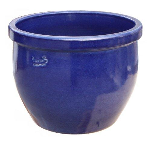 Hentschke Keramik Pflanztopf/Pflanzkübel frostsicher Ø 35 x 29 cm, Effekt blau, 076.035.64 Blumenkübel für Draußen + Innen - Made in Germany
