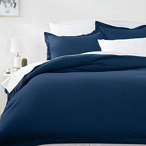 AmazonBasics Light-Weight Microfiber Duvet Cover Set with Snap Buttons - Full/Queen, Navy Blue