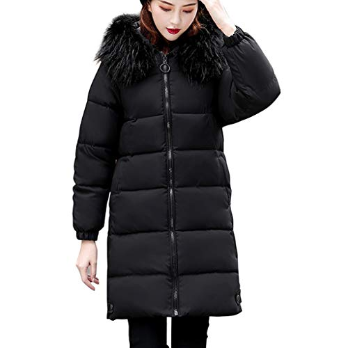 Dasongff wollen mantel wintermantel dames lange volle kleur volledige ritssluiting met capuchon outdoor winddichte herfst winter warme trenchcoat outwear meisjes casual slank outdoor wild coat Large zwart