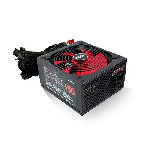 Nox NX 650W - NXS650 - Fuente de Alimentación 650W, compatible con SLI&Crossfire, ventilador 140mm, utra silenciosa, Multi GPU compatible, PFC activo, color negro