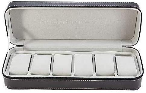 Gymqian 6 Booth Leather Watch Zipper Bag Storage Box Portable Jewelry Storage Display Watch Noble