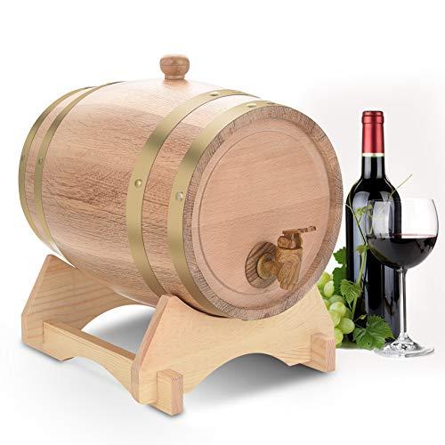 Yosoo Health Gear Barril de Roble Barril de Madera 5L, toneles de Madera, dispensador de Vino Barril de Vino para Almacenamiento, Cerveza, licores, Whisky, Ron, Puerto, borbón, Tequila, Licor