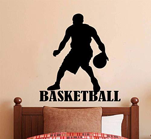 Tianpengyuanshuai Etiqueta de la Pared Baloncesto Niño Decoración del Hogar Nombre Diseño Vinilo Art Player Home Mural 63X67cm