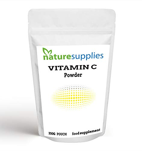 Vitamin C Powder 200g Ascorbic Acid UK Non GMO - Pharmaceutical Grade, Highly Concentrated No Chemicals in Our Supplements - Suitable for Vegans - Naturesupplies