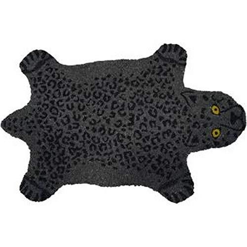 fisura DM1363 - Felpudo, diseño de piel de pantera negro y gris, fibra de coco y PVC látex (1,5 x 40 x 70 cm)