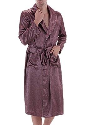 Tortor 1Bacha Men's Silk Like BathRobe Print Kimono Robe Sleepwear