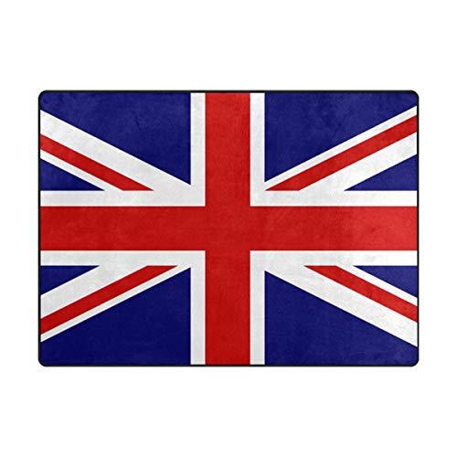 ISAOA Alfombra moderna y suave para niños, diseño de bandera de Reino Unido, alfombra para dormitorio, sala de estar, habitación infantil, decoración antideslizante y lavable, 152 x 120 cm