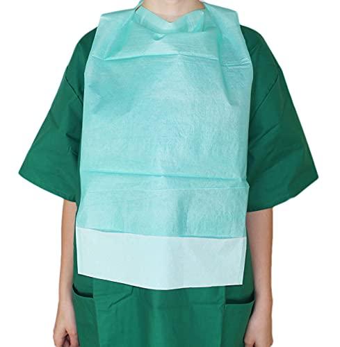 Medi-Inn Einmal-Esslätzchen 64 cm x 36 cm grün | 50 Stück | Esslatz mit PE-Beschichtung und praktischer Auffangtasche | für Erwachsene, Senioren oder Kinder