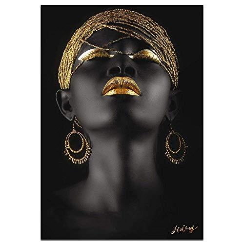 Wall Art African American Art Wall Decor Canvas Wall Art Original Designed Pop Gold