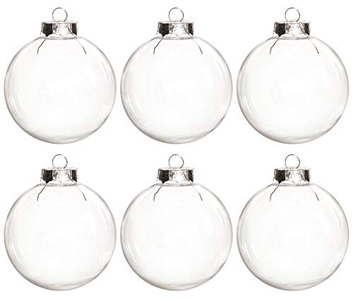 MISAZ 6 Pieces Transparent Round Christmas Balls Ornaments, Clear Fillable Christmas Tree Hanging Plastic Baubles Ornament DIY for Wedding Party New Years Present Holiday Decor,60mm