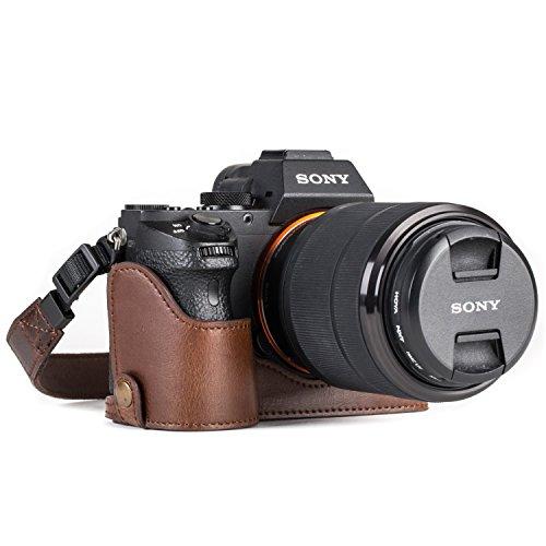 MegaGear Sony Alpha A7S II, A7R II, A7 II Ever Ready câmera de couro meia capa e tira, com acesso à bateria - marrom escuro - MG1124