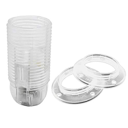 SET E14 Fassung transparent + 2x Schraubring, Gewinde M10x1 Thermoplast Schraubfassung für Glühlampe und LED