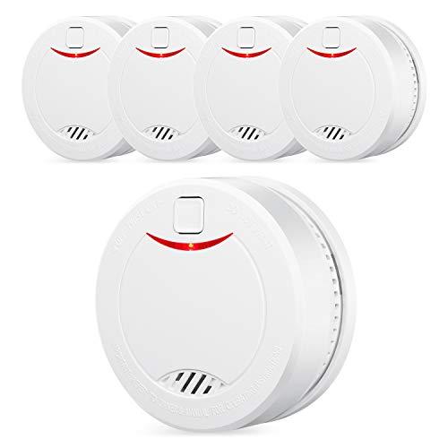 HEIMAN Detector de Humo Alarma de Humo Fotoeléctrica Alarma Incendios con Sensor Fotoeléctrico Independiente Voz de 85 dB, con 10 Años de Duración de Batería (5 Piezas)