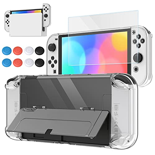 Clear Case Compatible with Nintendo Switch OLED, FYOUNG 3 in 1 Protective Clear Cover Case for Switch OLED and for Joycon Controller with Tempered Glass Screen Protector and 8PCS Thumb Grips