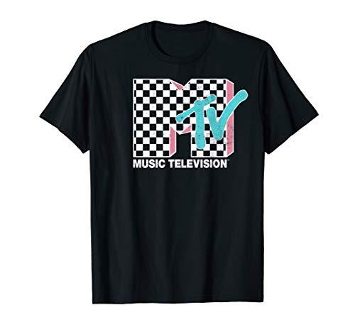 MTV Neon Distressed Checkered Logo Graphic T-Shirt