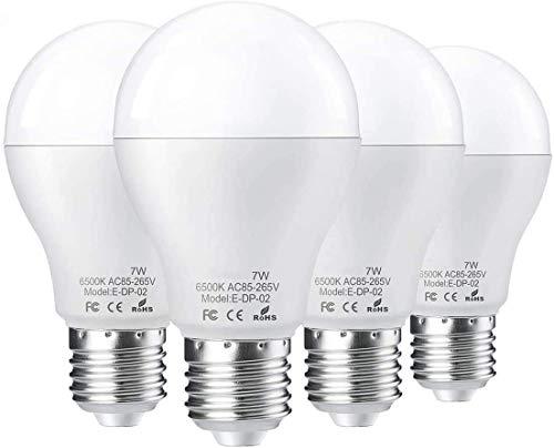 4*E27 LED Glühbirne mit Radar Bewegungsmelder Smart licht Lichtsensor Radarsensor LED Birne,Tageslichtweiß 6500 K 7W ersetzt 50W Sensor Lampe Verwendet für Einbruchswarnung