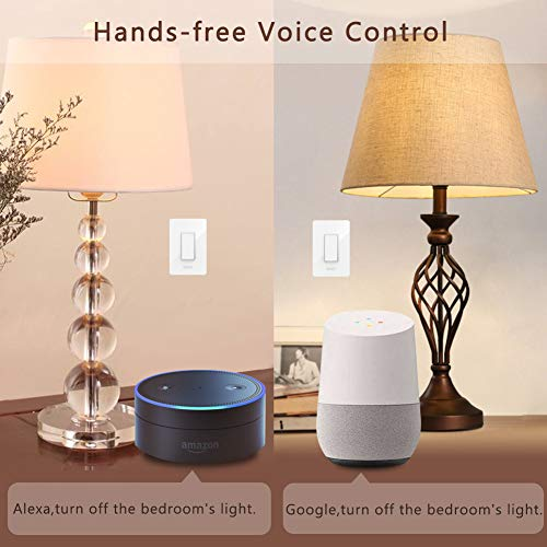 3 Way WiFi Smart Wall Light Switch Wireless Remote APP Control From Anywhere Compatible with Alexa and Google Home Timer Function No Hub Require(3-Way Smart Switch (1 Piece))