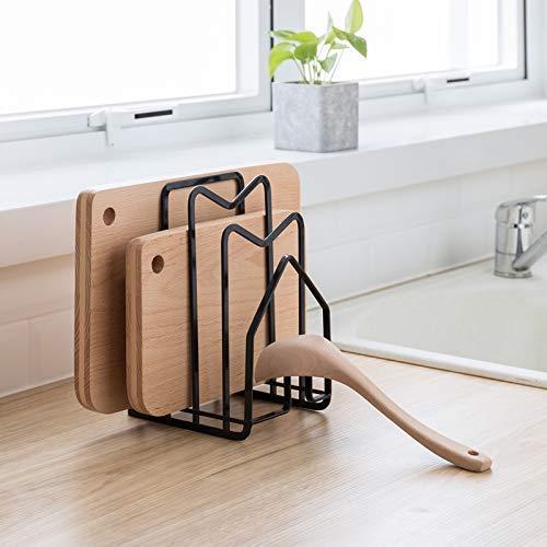 SUNIFCON - Soporte para tabla de cortar, bandeja de cocina, bandeja de cortar, soporte para platos de cocina, bandeja de hornear, encimera plana, acero, 12,5 x 14,5 x 21,5 cm, color negro