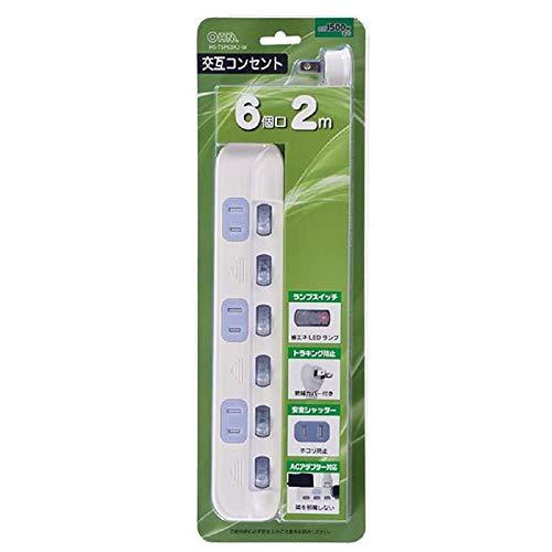オーム電機 個別スイッチ付 交互コンセント 6個口/2m) 00-2245 HS-TSP62A2-W