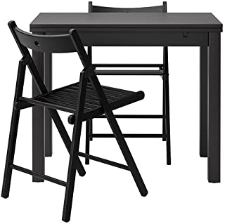 IKEA Table and 2 Chairs, Brown-Black, Black 16202.5220.2210