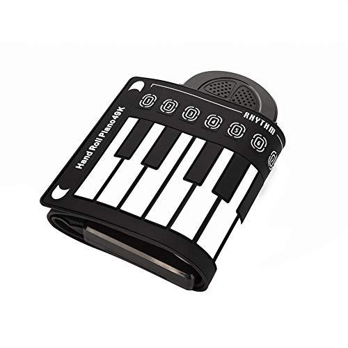 Drfeify Silikon Roll Up Piano, 49 Tasten mit 6 Demo-Songs und 16 Timbres Tragbare Klaviertastatur aus der für den menschlichen Körper unbedenklich Naturkautschuk (Schwarzes)