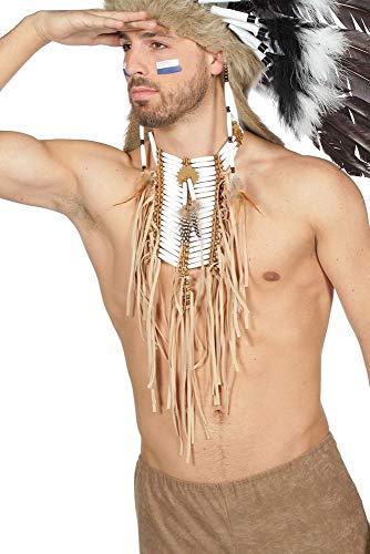 shoperama Collar indio para el pecho, perlas y flecos, plumas, collar de india del oeste, para hombre y mujer