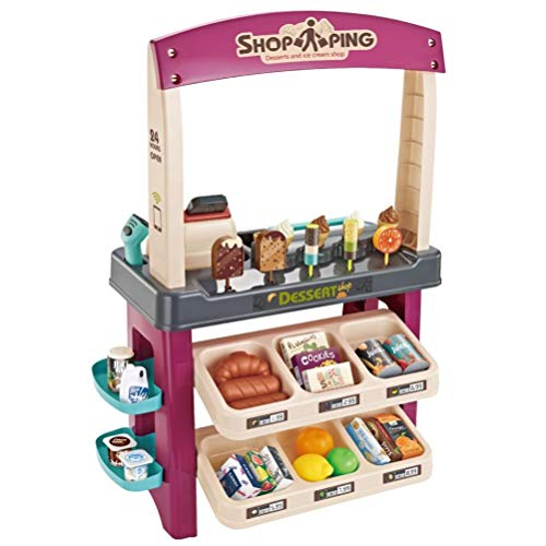 Tpolo Ice Cream Shop 55 Pieces Luxury Grocery Store Pretend Playset with Scanner,Realistic Pretend Play Appliance for Kids,Purple