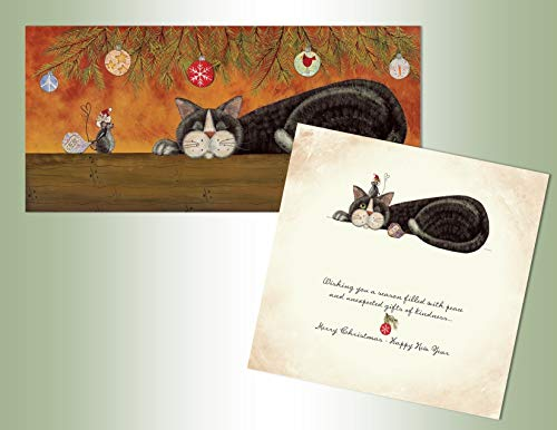 Performing Arts Boxed Christmas Cards, Long Style Card with Non-Flake Glitter Embellishment, Full Color Inside Designs, Cat and Mouse, Gifts of Kindness (14 glitter cards, 14 coordinating envelopes)