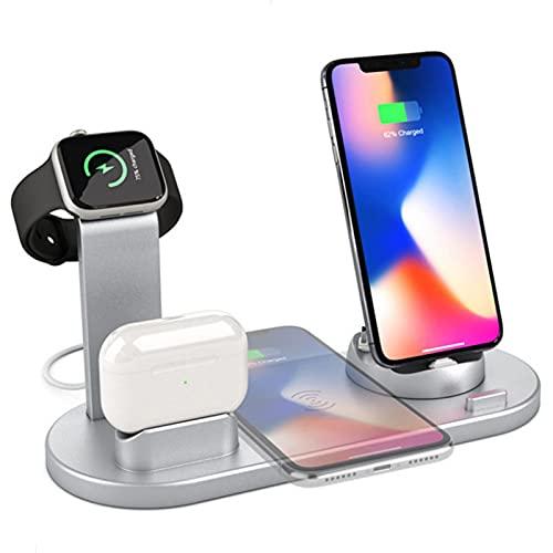 Wsaman Multifuncional Cargador Inalámbrico 4 en 1, Base Carga Inalámbrica Rápida 10W para iPhone Samsung Huawei Xiaomi Estación Carga Inalámbrica Multifuncional,Plata