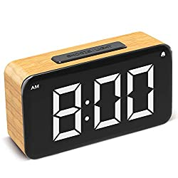 Ncknciz Alarm Clock,Digital Clock for Bedrooms Easy Use Clock with Snooze 6'' LED Large Display Number,6 Brightness Dimmer,Wood Grain Clock with USB Charge,Electric Beside Clocks for Kids Adults
