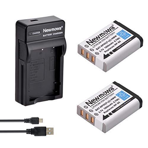Newmowa® NP-95 Ersatz Akku (2er Pack) und tragbar Micro-USB-Ladegerät-Set für Fujifilm FinePix F30, FinePix F31fd, FinePix Real 3D W1, FinePix X100, FinePix X30, FinePix X100T, FinePix X100LE