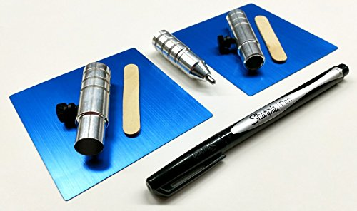 "Bundle, 5 Items : The Etching Tool + Set of 2 Anodized Aluminum Blanks (3.5"") + Pen Holder + Marker Holder + Pen [Silhouette (All Models) - Cricut (Original, Expression, Expression 2, Create) - More]"