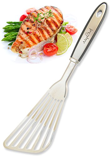 Fish Spatula  AdeptChef Stainless Steel Slotted Turner  ThinEdged Design Ideal For Turning amp Flipping To Enhance Frying amp Grilling  Sturdy Handle MultiPurpose  Buy Yours TODAY