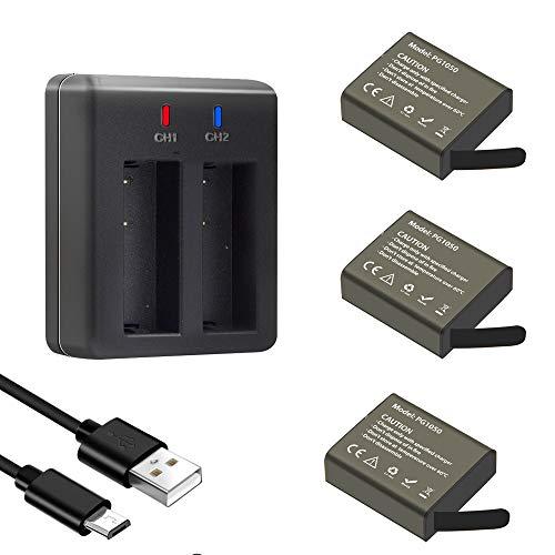 GeeKam Action Cam Akku 1050mAh Wiederaufladbar (3 Stücke) Batterien mit USB 2-kanäle Ladegerät für Crosstour/Victure/Apexcam/AKASO/APEMAN/Campark/GOOKAM/Vemont/BOIFUN/GoXtreme/COOAU/SJ4000/PG900