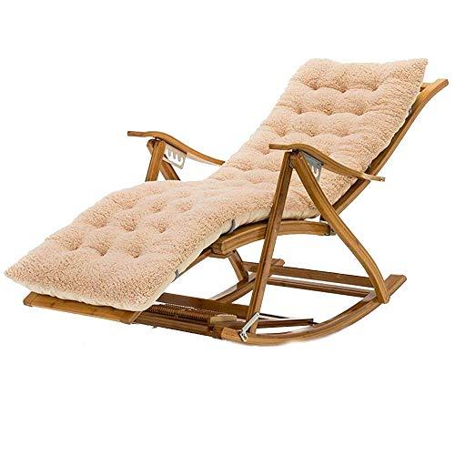 Einfacher Klappstuhl, Sun Lounger Liegender Schaukelstuhl mit Baumwollkissen, Fußmassage Roller Bambus